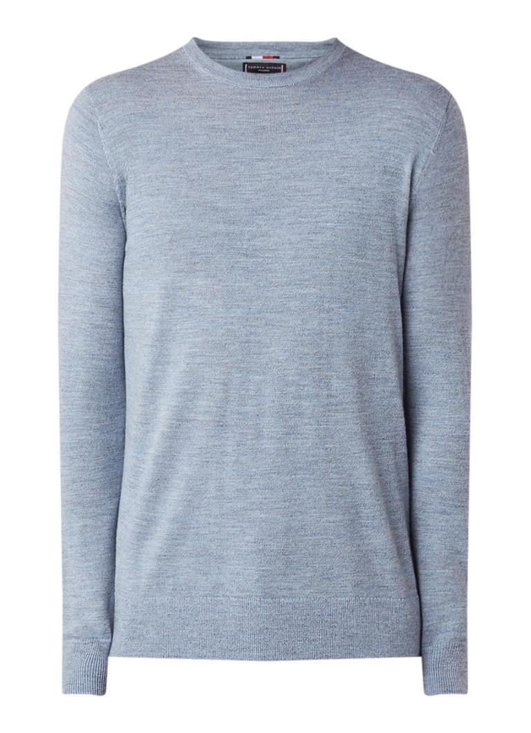 Image of Tommy Hilfiger Fijngebreide pullover van wol met ronde hals