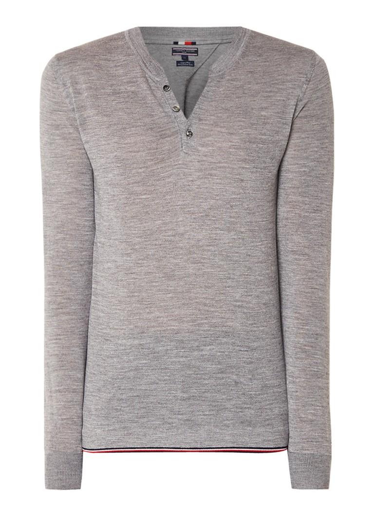 Tommy Hilfiger Fijngebreide pullover van wol met henley-halslijn