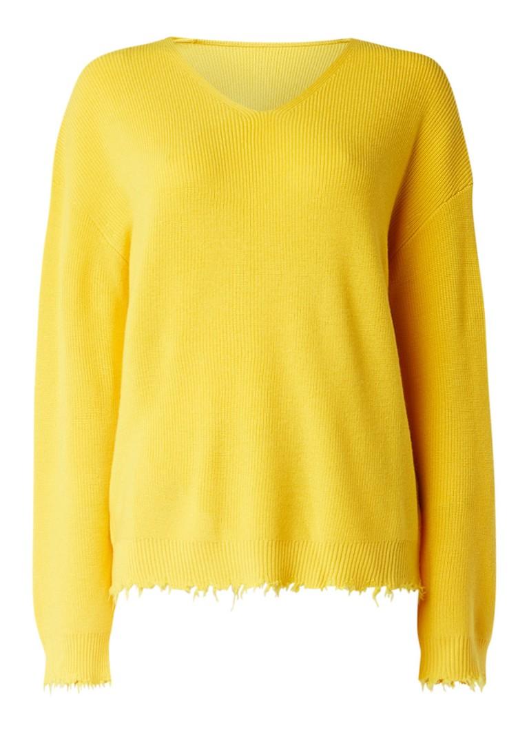 Truien en vesten MOenCo  Pullover van wol met gerafelde zoom Geel