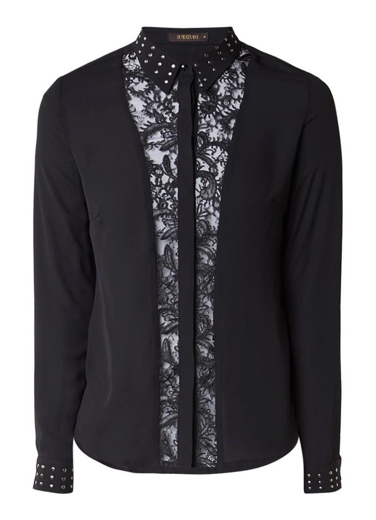 SuperTrash Bisa blouse van chiffon met details van kant en studs