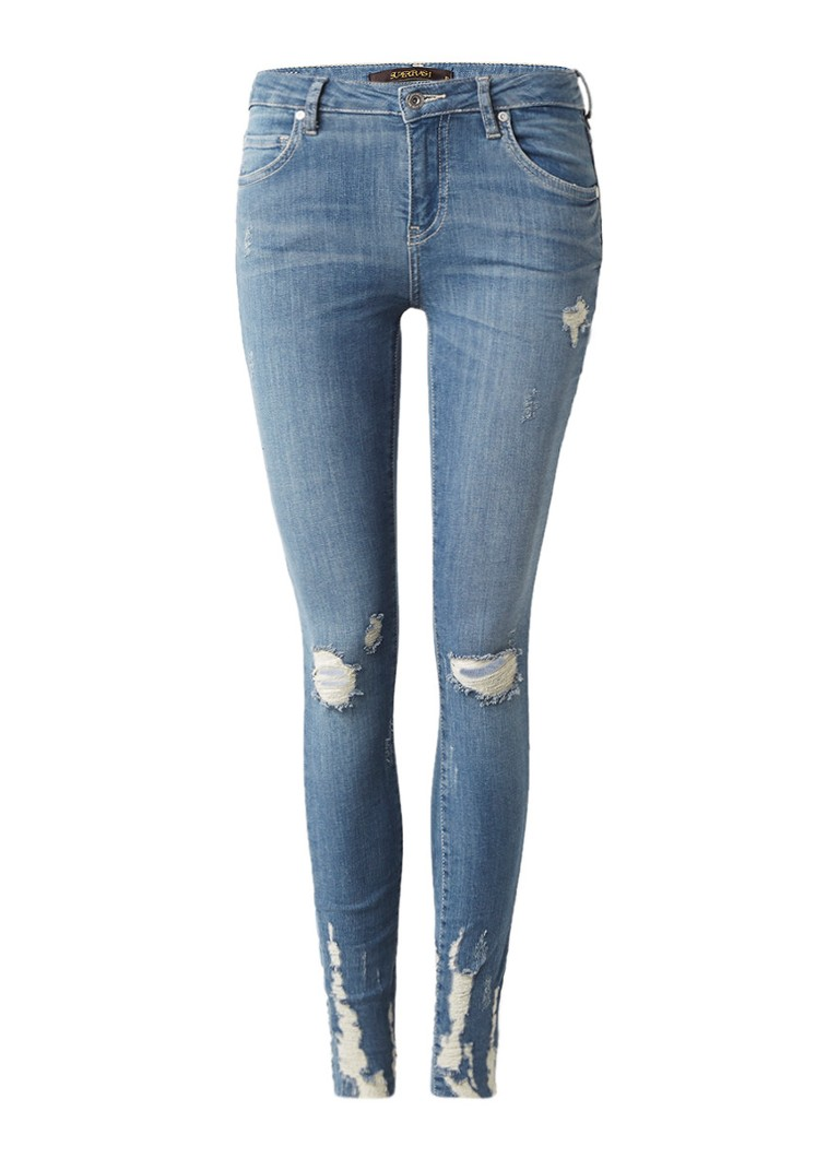 SuperTrash Paradise skinny fit jeans met destroyed look