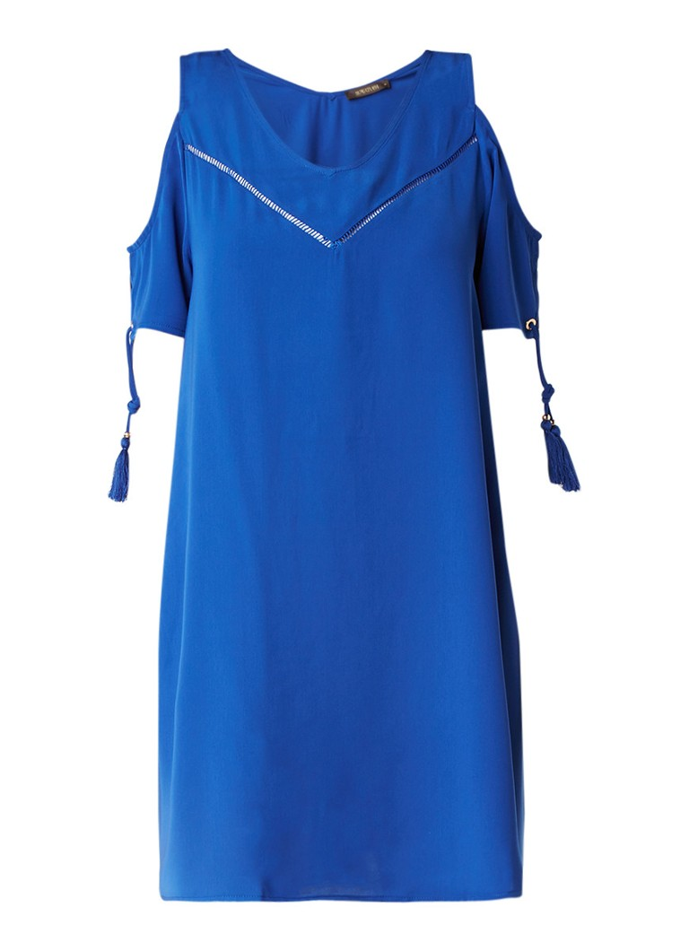 Supertrash Dado cold shoulder jurk met rijgdetail bij mouw kobaltblauw