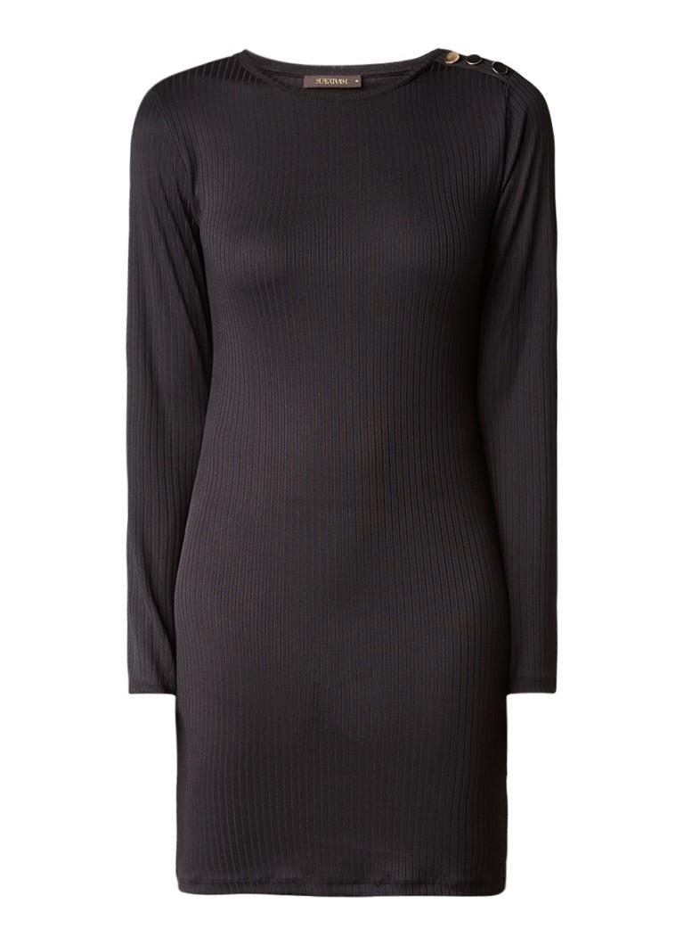 Supertrash Deresa mini-jurk van ribjersey met sierknopen diepzwart