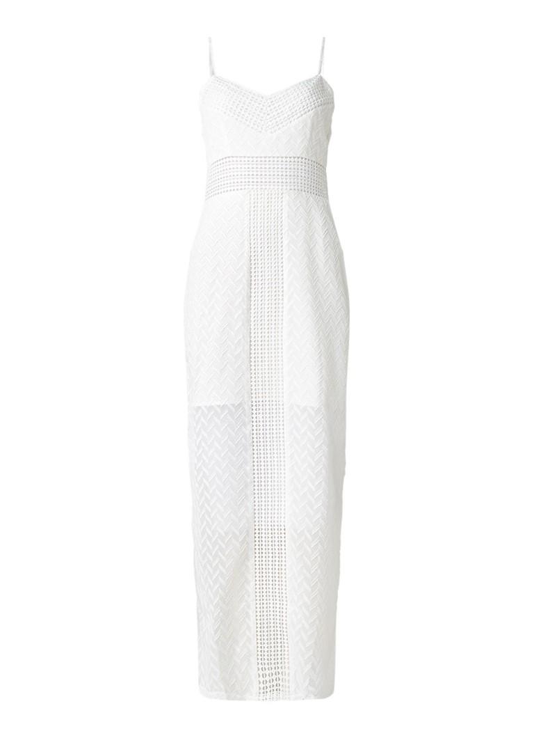 Supertrash Deja maxi-jurk met kant en structuur gebroken wit