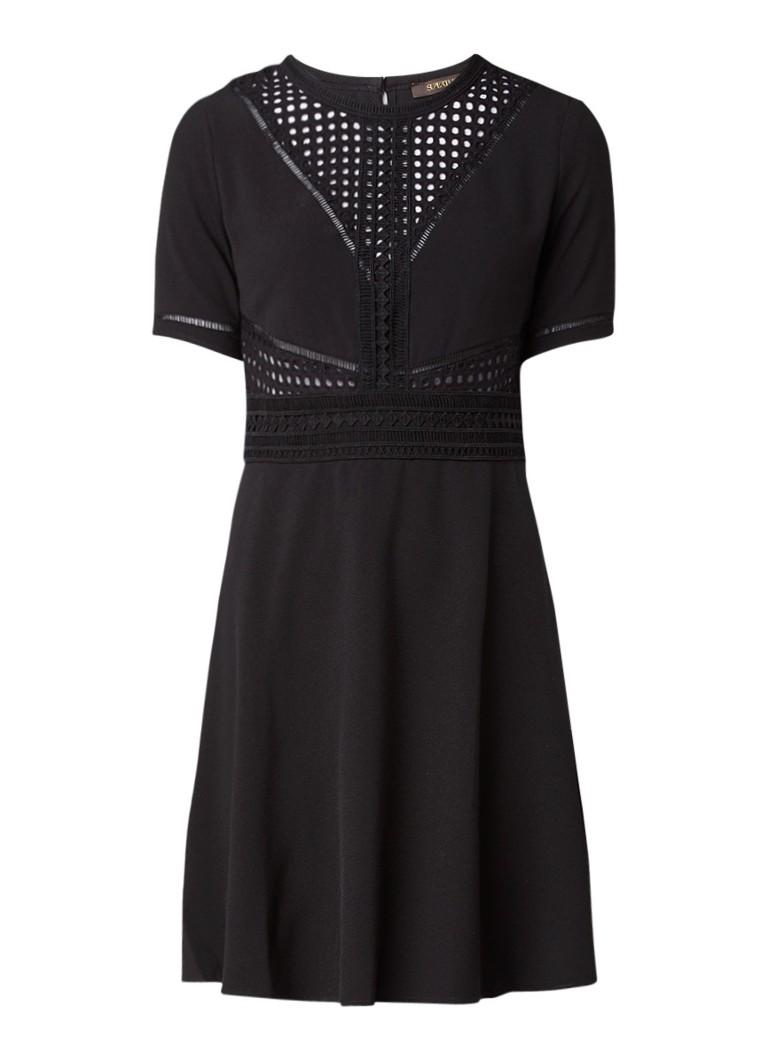 Supertrash Daris A-lijn jurk met opengewerkte details zwart