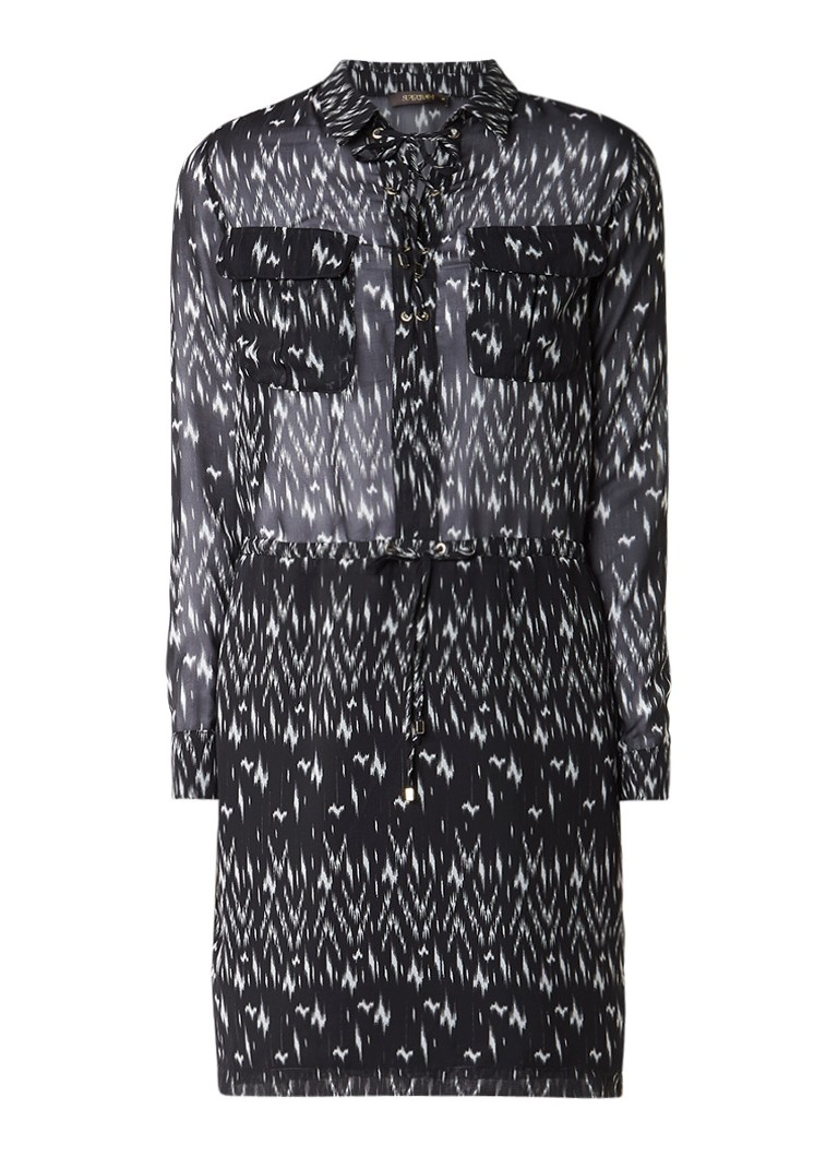 Supertrash Dohemian tuniekjurk met rijgsluiting zwart