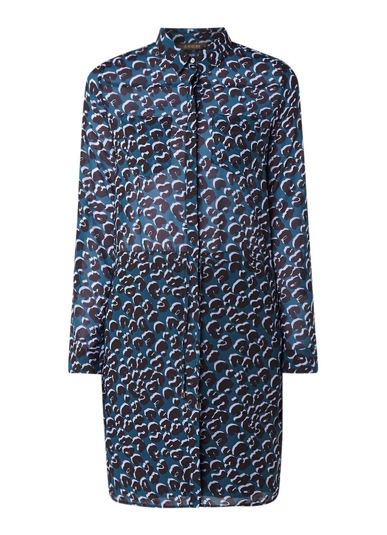 Supertrash Daelyn blousejurk met luipaarddessin donkergroen