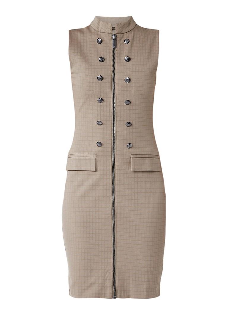 Supertrash Daria midi-jurk met ingeweven structuur en sierknopen donkerbeige