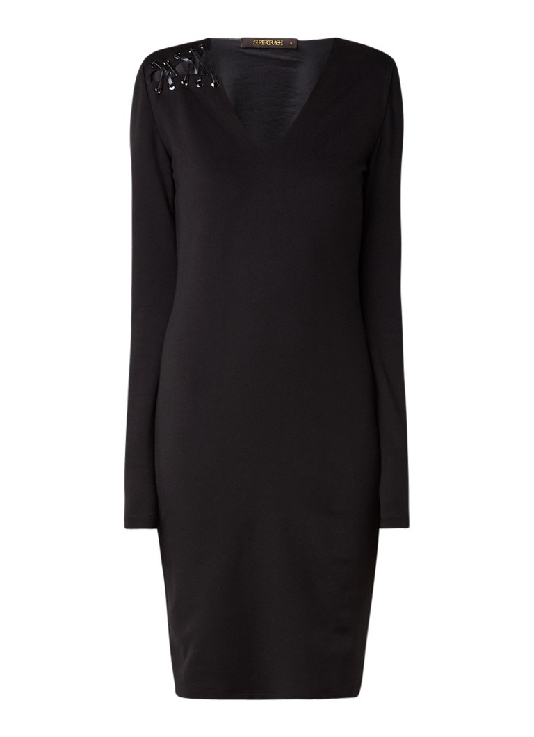 Supertrash Deye midi-jurk met rijgdetail zwart