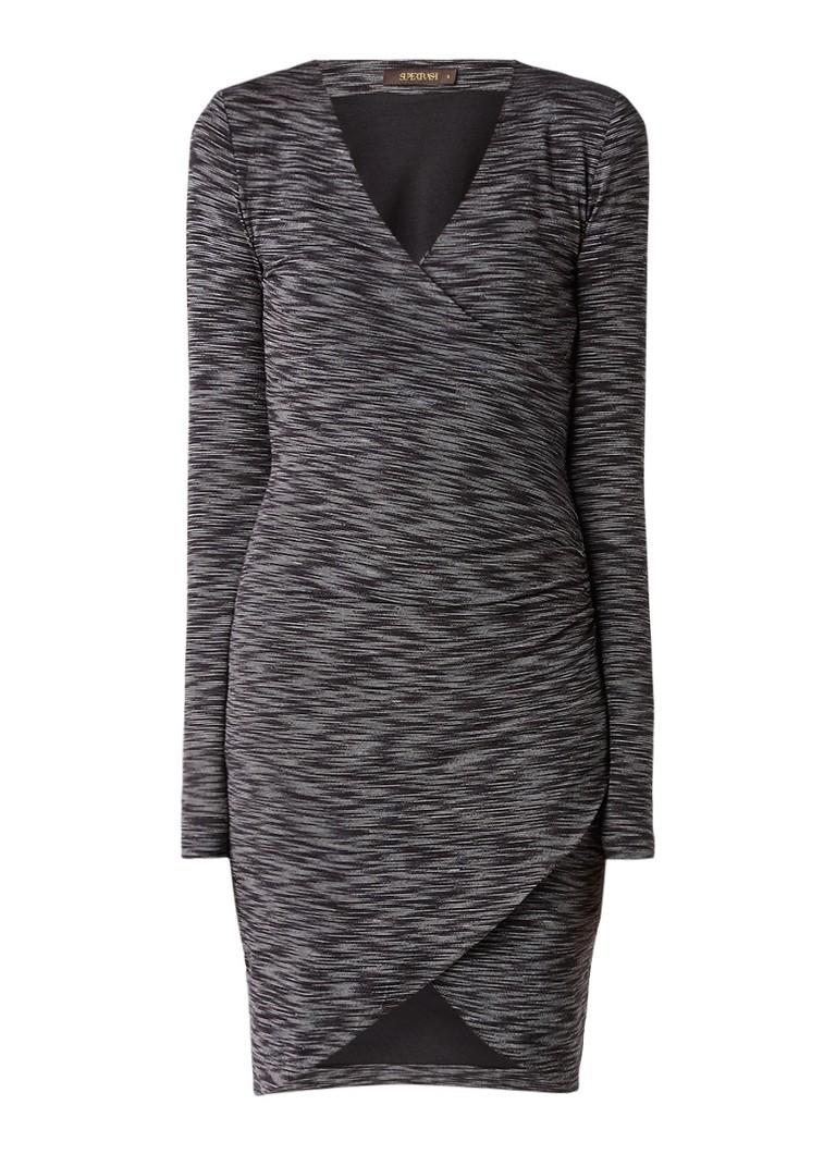 Supertrash Derra midi-jurk met overslag en plooien antraciet
