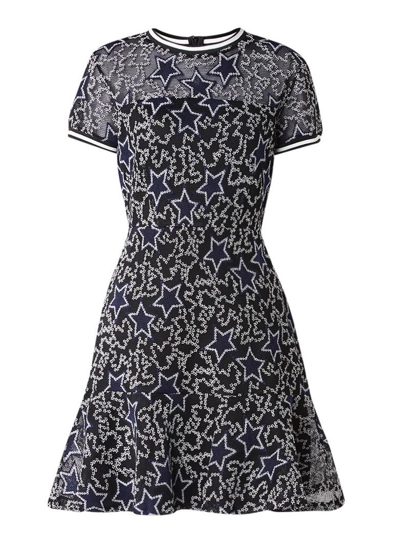 Supertrash Denon A-lijn jurk met sterrendessin en ribgebreide boorden donkerblauw