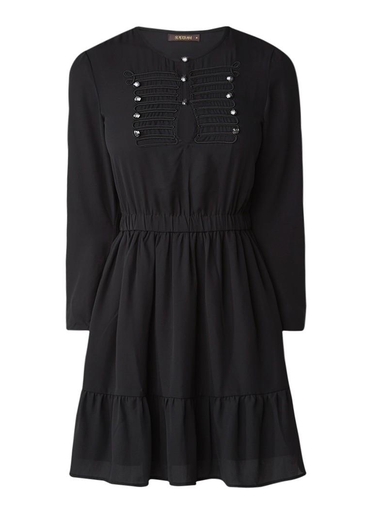 Supertrash Duty A-lijn jurk met marine-look diepzwart