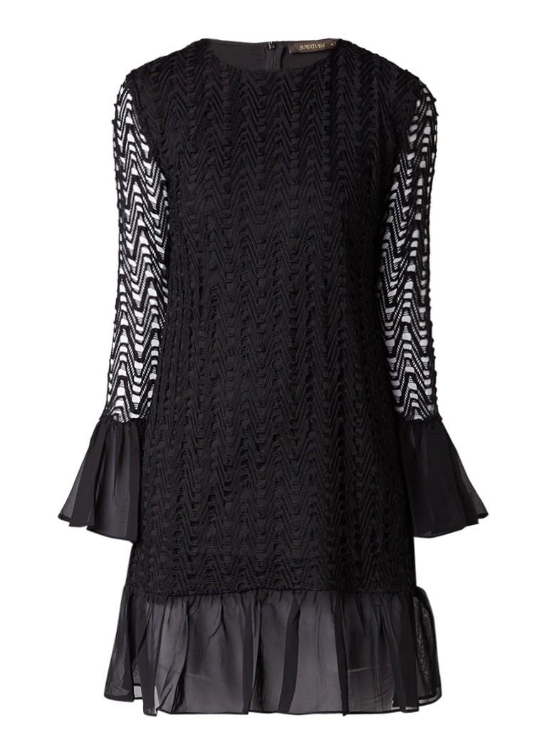 Supertrash Dimma midi-jurk met volant en opengewerkt dessin zwart
