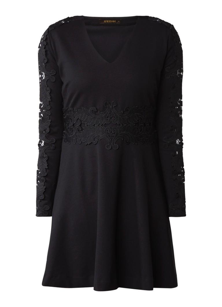 Supertrash Duipure A-lijn jurk met kant diepzwart