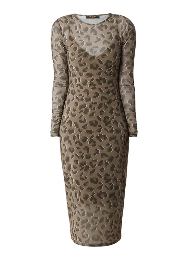 Supertrash Dune jurk met camouflageprint legergroen
