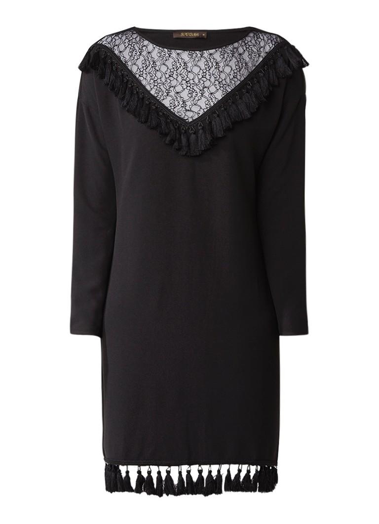 Supertrash Destiny midi-jurk met inzet van kant en kwastjes zwart