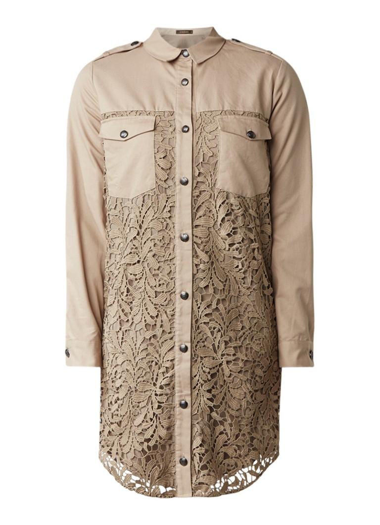 Supertrash Dylan blousejurk van katoen met kant legergroen