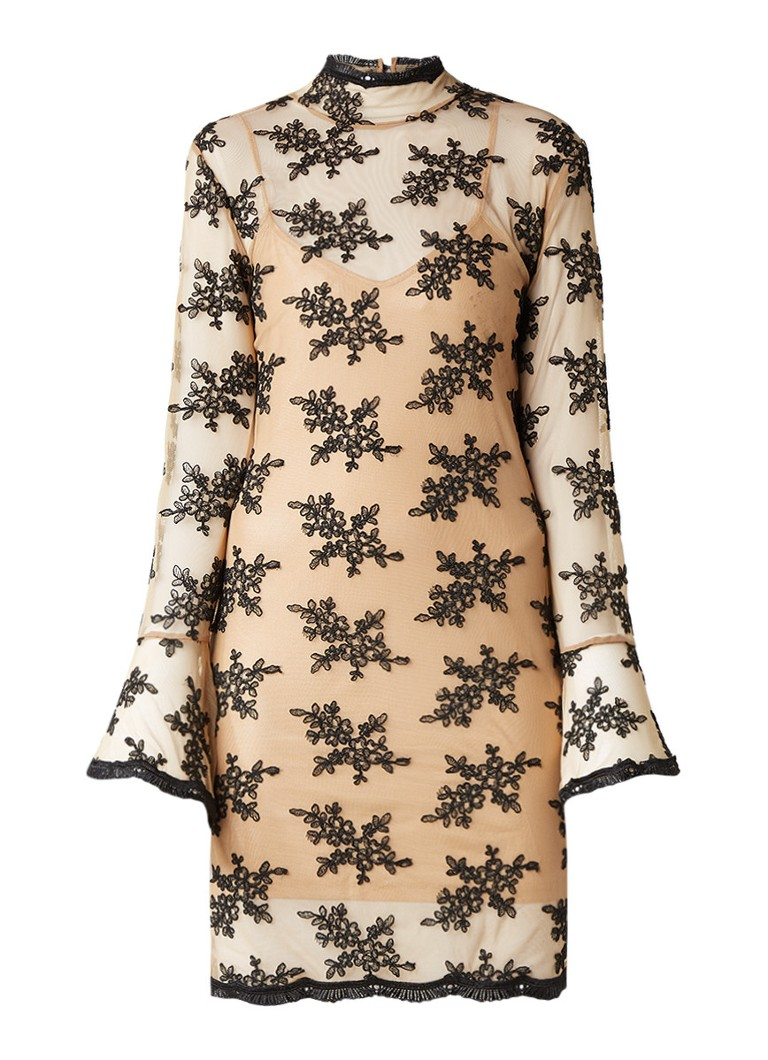 Supertrash Desh midi-jurk van kant met volantmouw lichtbruin