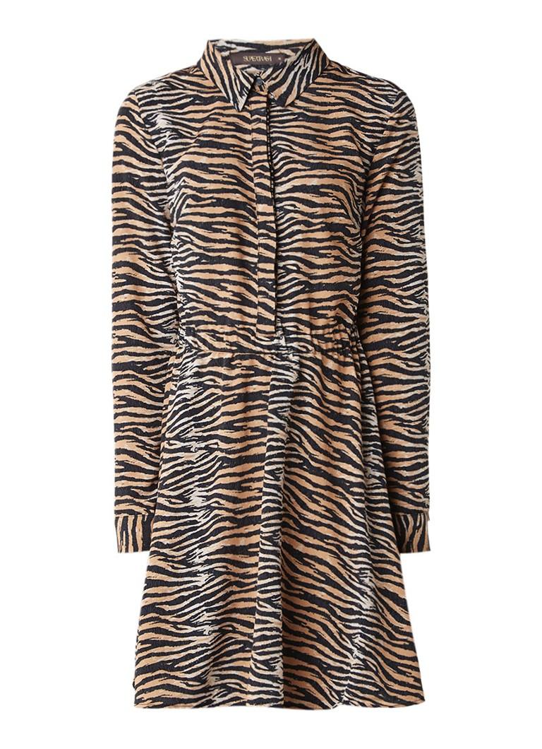 Supertrash Dars blousejurk met tijgerdessin lichtbruin