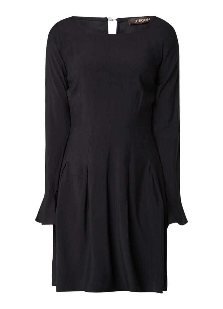 Supertrash Daire A-lijn jurk met trompetmouw diepzwart