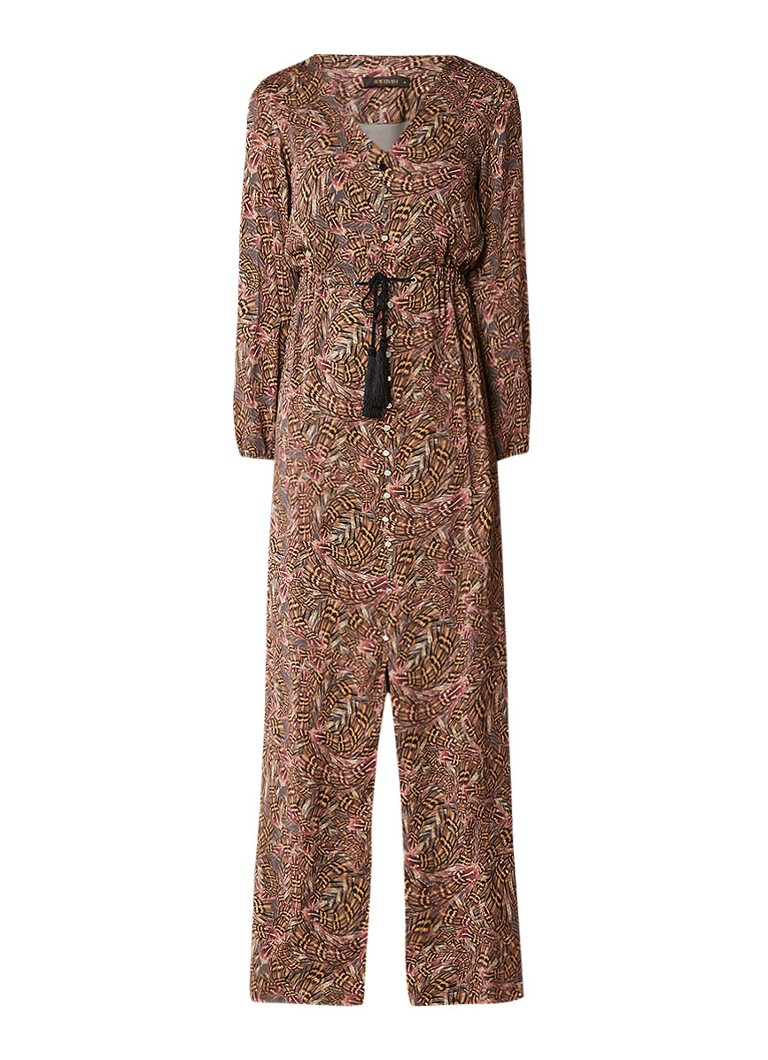 Supertrash Dirby maxi-jurk met verendessin en kwastjes bruin
