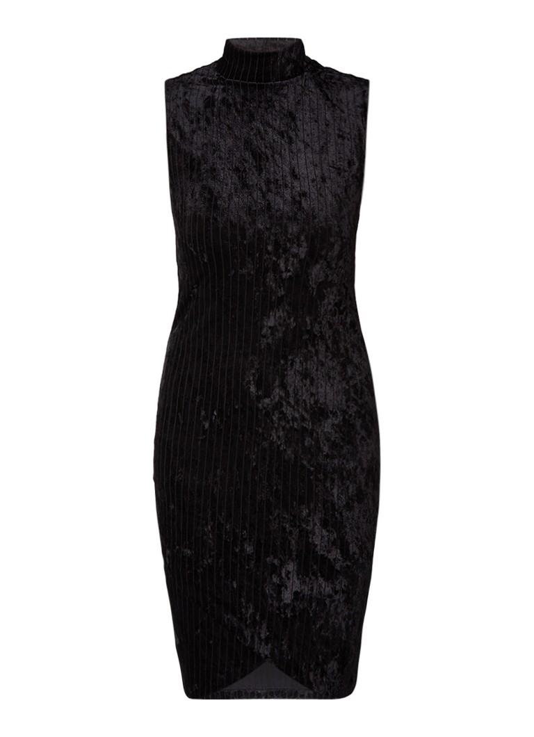 Supertrash Dilany midi-jurk van fluweel met ribstructuur diepzwart