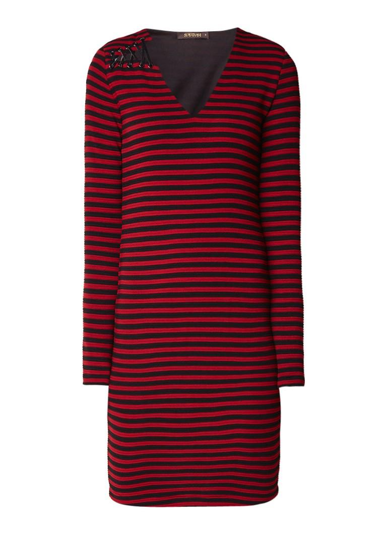 Supertrash Deye gestreepte jersey jurk met rijgdetail rood
