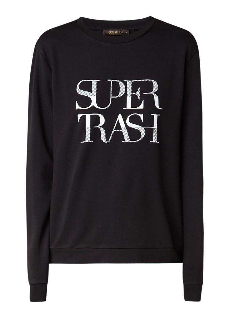 SuperTrash Topper Bowie sweater met logoprint