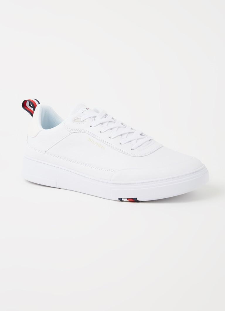 Tommy Hilfiger Leren sneakers met cupzool en logo in wit suède online kopen