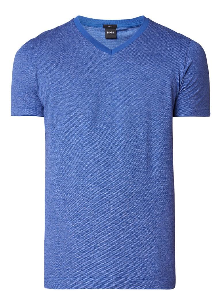 HUGO BOSS Teal slim fit gemêleerd T-shirt met V-hals
