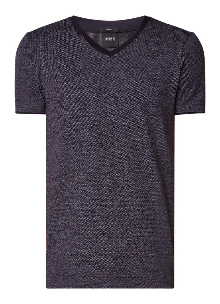 HUGO BOSS Teal slim fit T-shirt met V-hals