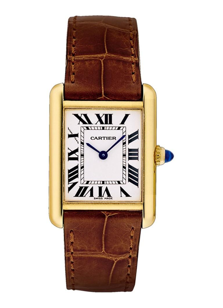 Cartier Tank Louis Cartier small horloge van 18k geelgoud en krokodillenleer W1529856