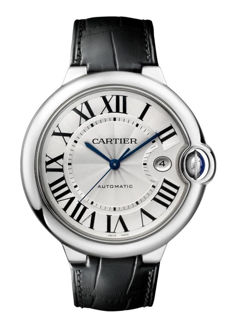 Cartier Ballon Bleu de 44 mm horloge van staal en krokodillenleer W69016Z4