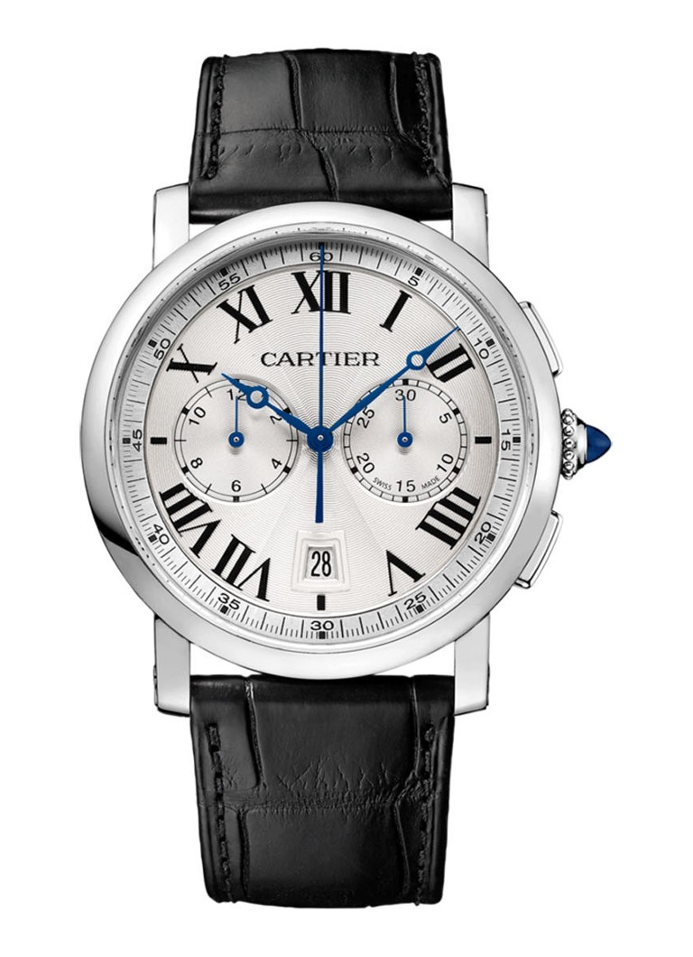 Cartier Rotonde de Cartier Chronograph 40 mm horloge van staal en krokodillenleer - Calibre 1904-CH MC - WSRO0002
