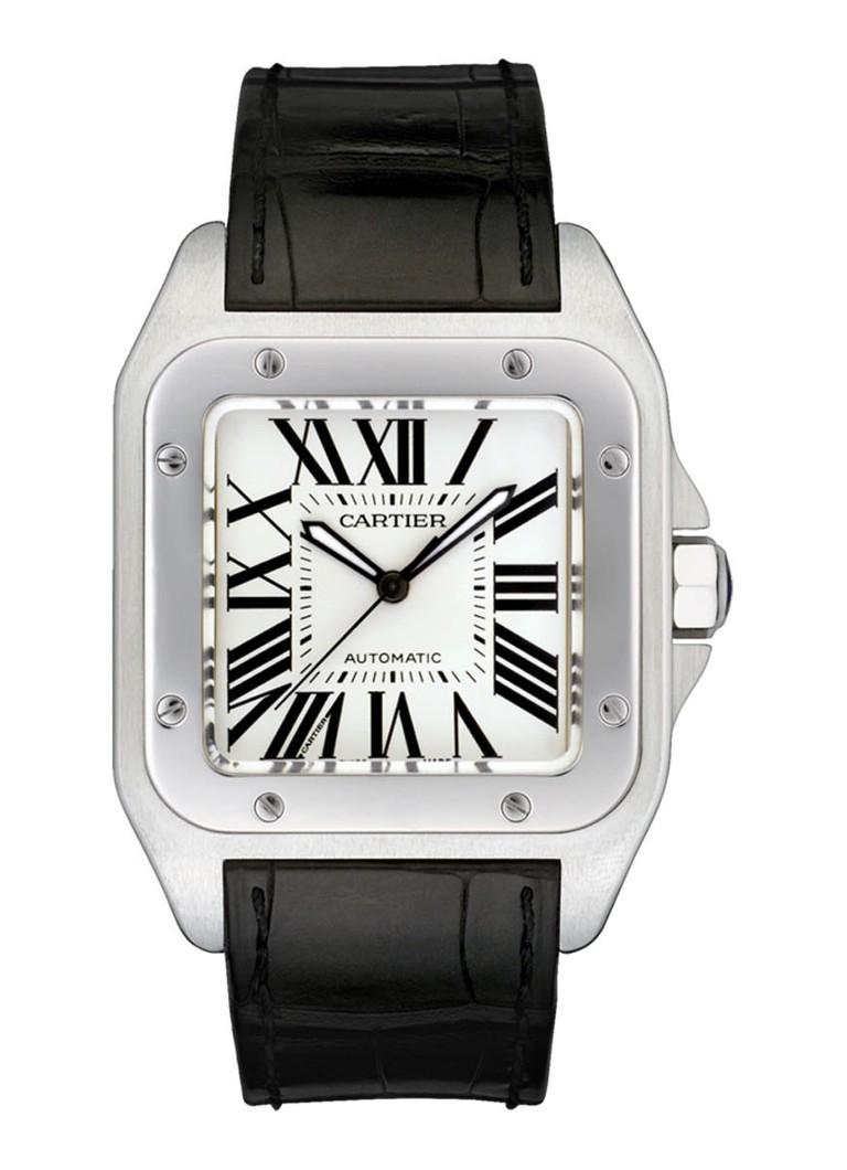 Cartier Santos 100 large horloge van staal en krokodillenleer W20073X8