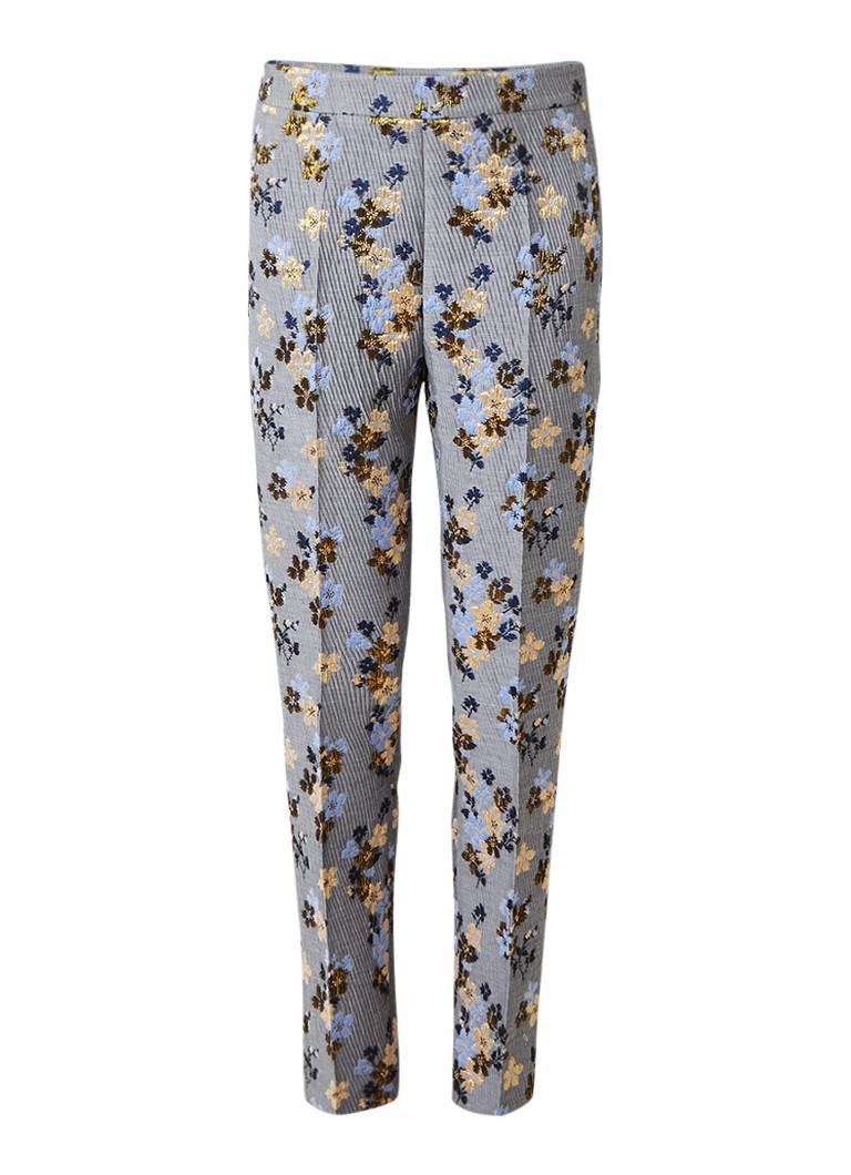 Broeken Anecdote Pippa straight fit pantalon met bloemendessin Grijs