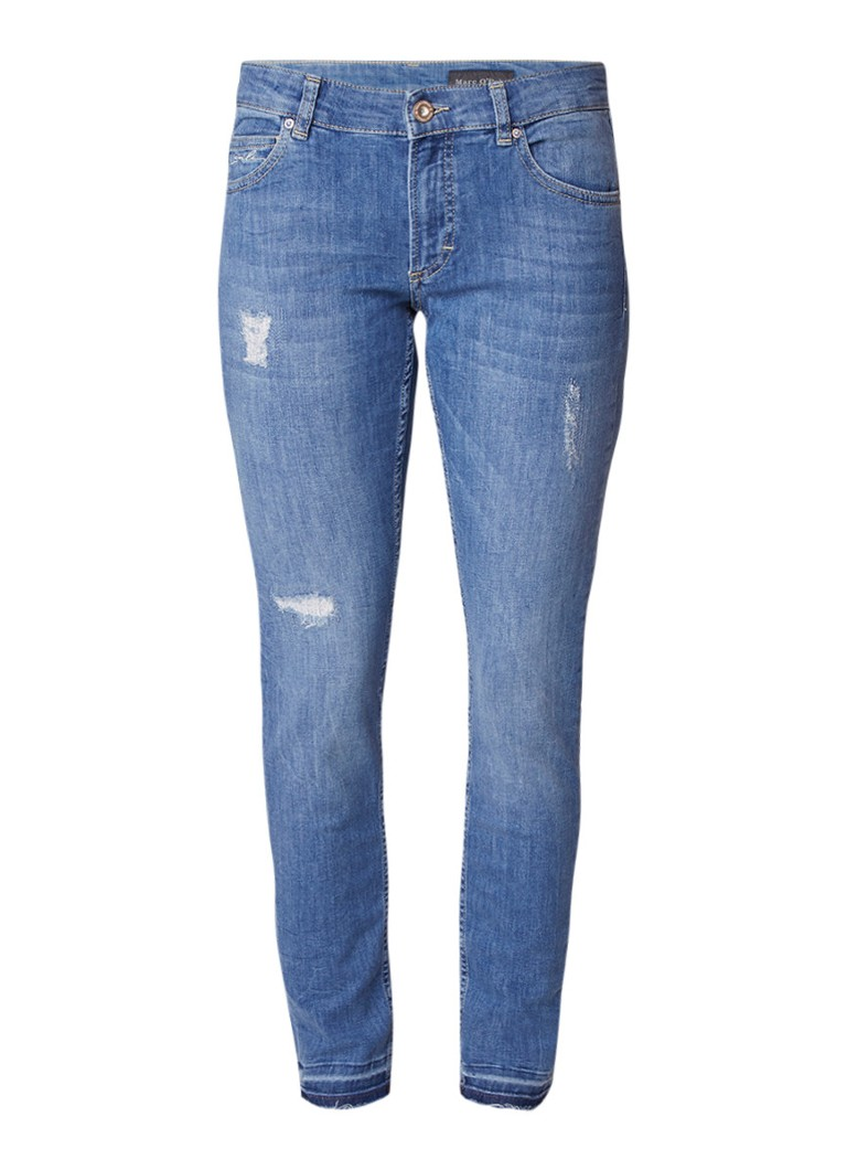 Marc O'Polo Lulea low rise slim fit jeans met destroyed details