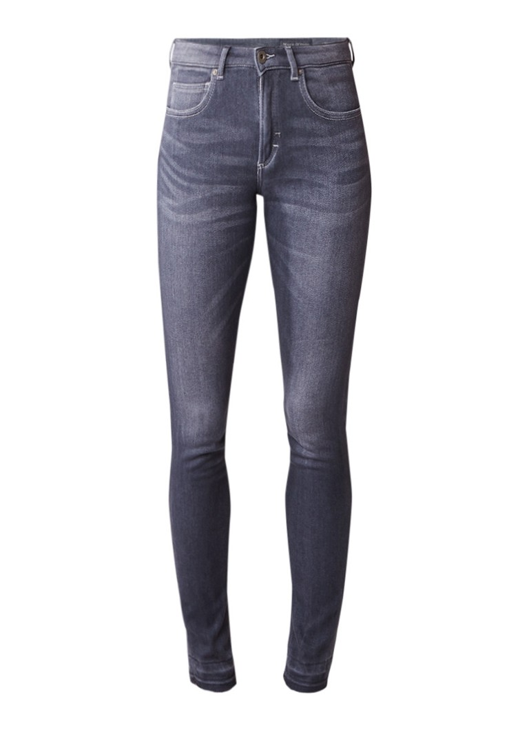 Marc O'Polo Mid rise slim fit jeans met donkere wassing