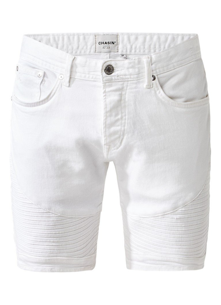 Chasin Drake S White shorts van denim met bikerlook