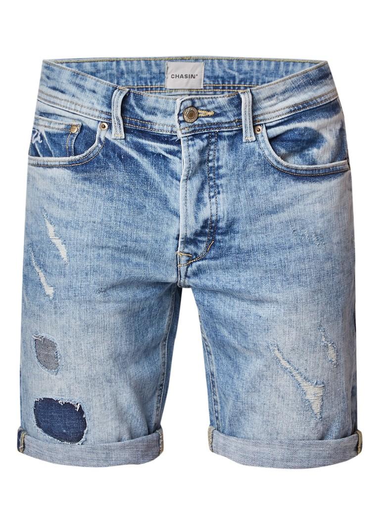 Chasin EGO Rosewood slim fit denim shorts met destroyed look