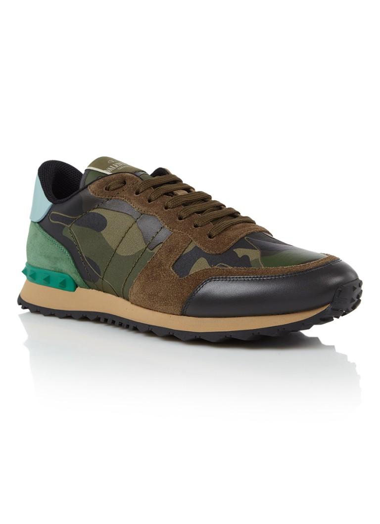 Valentino Camouflage Rockrunner sneaker met suède details