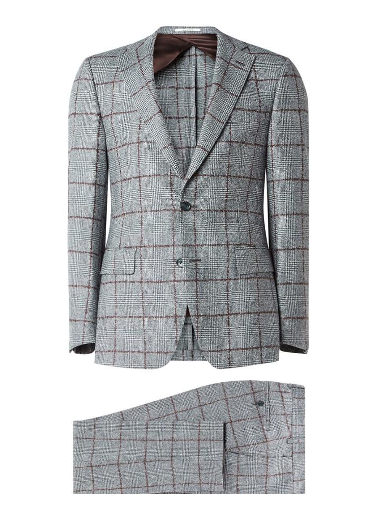 Van Gils Ellis tailored fit pak van scheerwol met geruit dessin