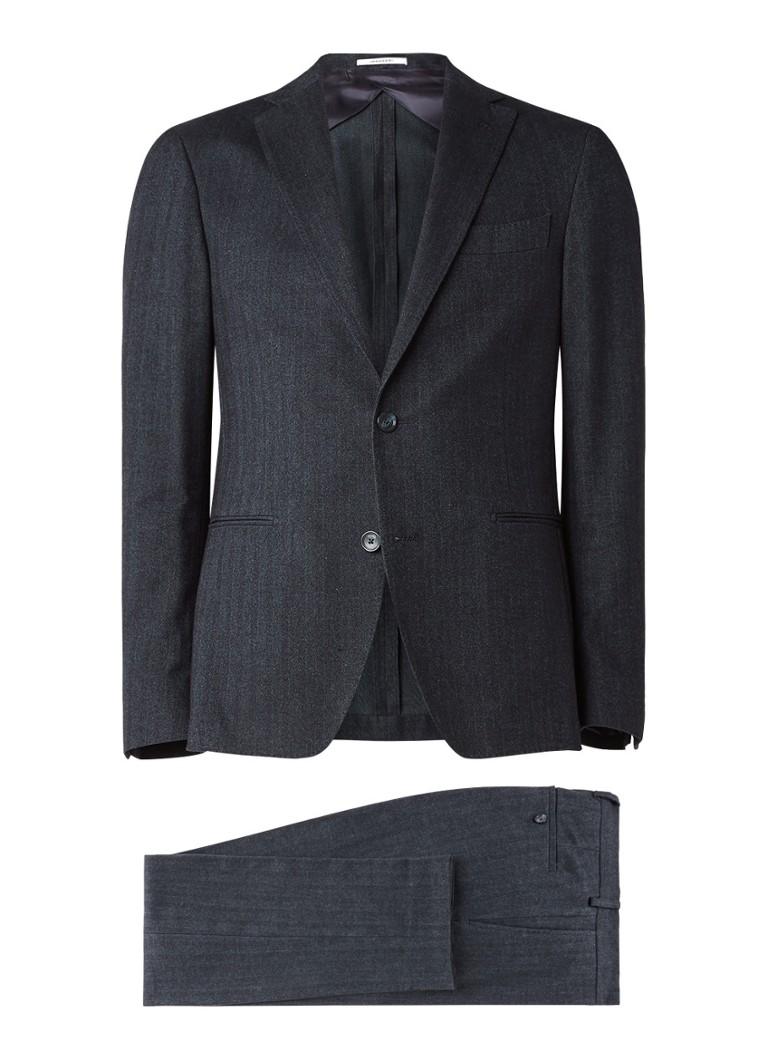 Van Gils Elair tailored fit pak van katoen met micro visgraatdessin