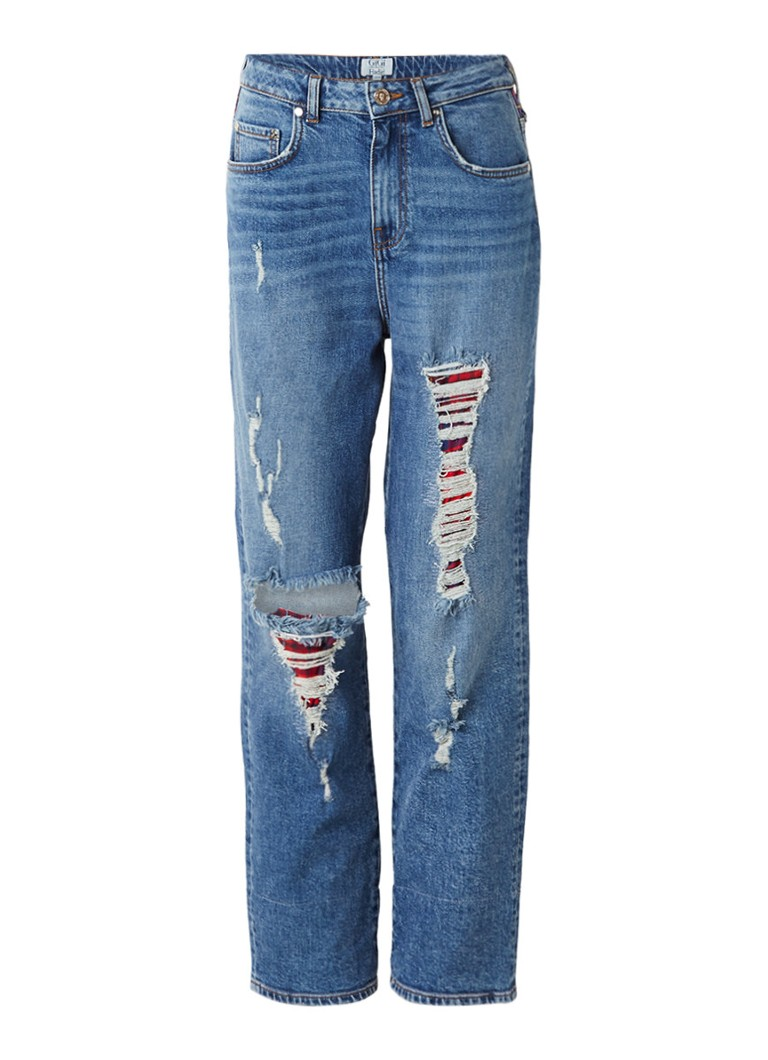 Tommy Hilfiger High waisted straight fit jeans met destroyed details