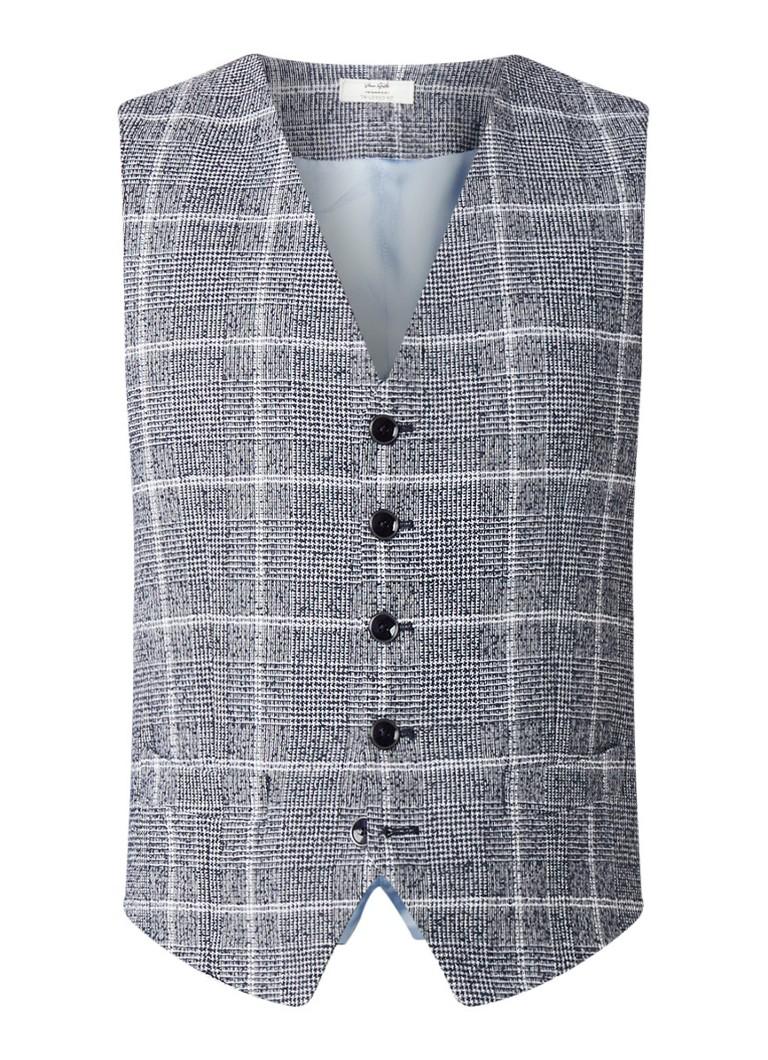 Van Gils Elson tailored fit gilet in katoenblend met ruitdessin kopen