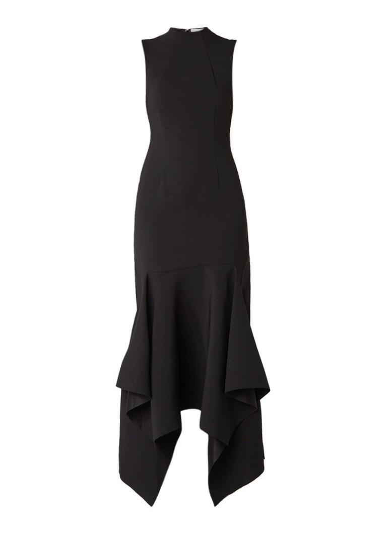 Solace London Clara kokerjurk met uitlopende onderzijde zwart