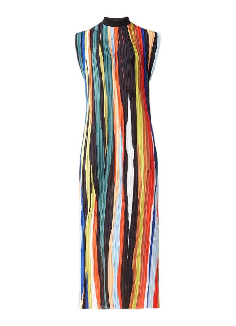 Solace London Arielle maxijurk met plissé en ribgebreide col multicolor