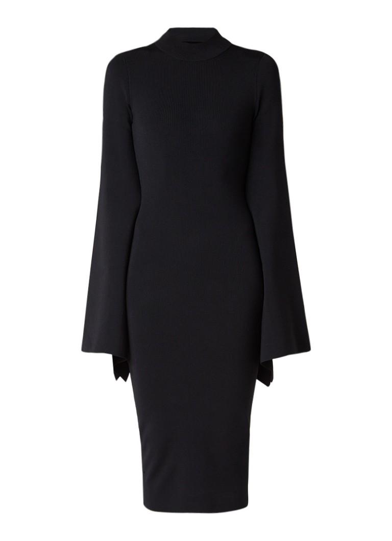 Solace London Ami midi-jurk met uitlopende mouw en rugdecolleté zwart