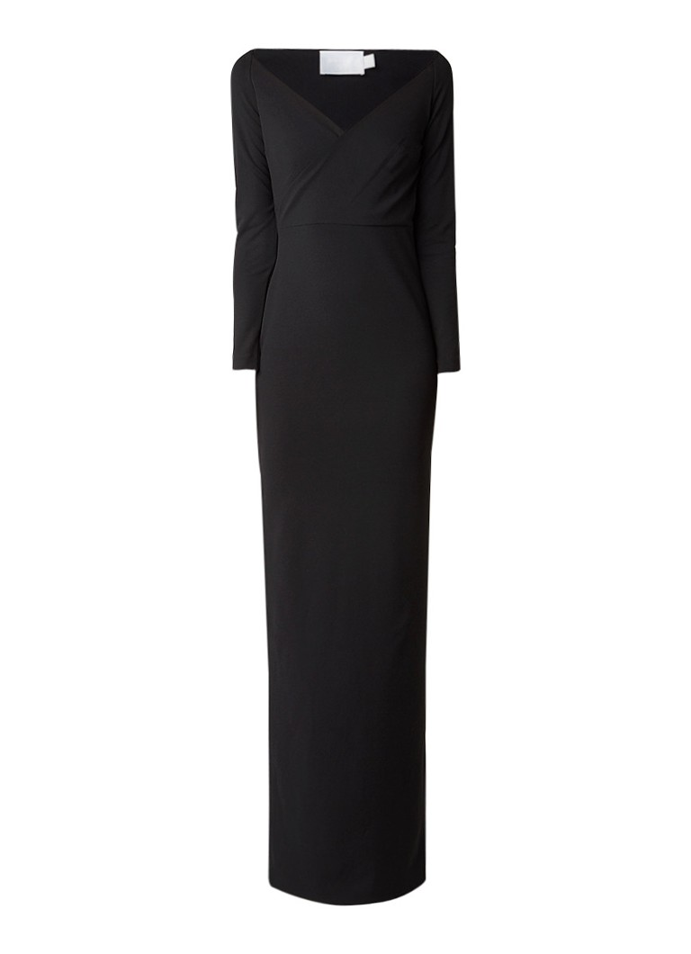 Solace London Victorie maxi jurk met gedrapeerde overslag en split zwart