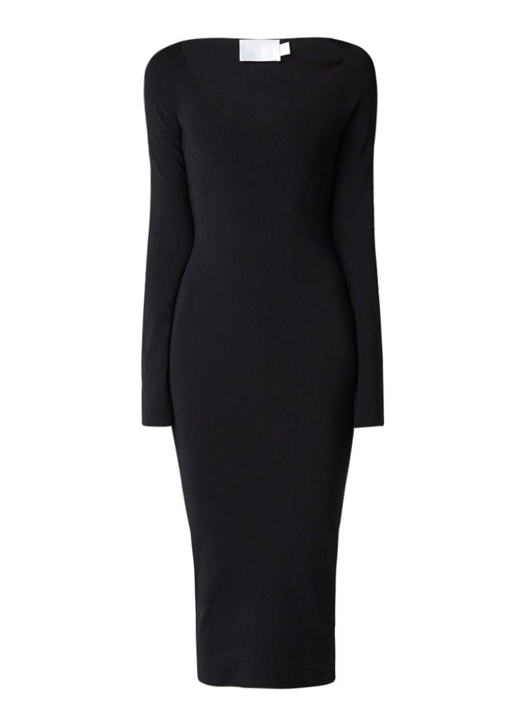 Solace London Sayen midi-jurk met flared mouw zwart